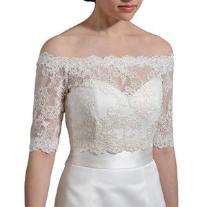 Accessories - Ivory Tulle Lace Embroidered Bridal Bolero Jacket
